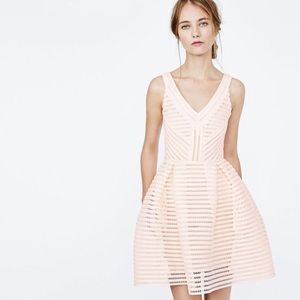 NWT MAJE Rayure mesh-striped jersey mini dress